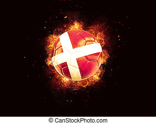 Football in flames with flag of denmark on black background....