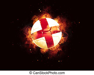 Football in flames with flag of england