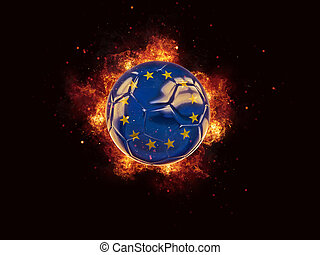Football in flames with flag of european union