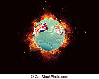 Football in flames with flag of fiji