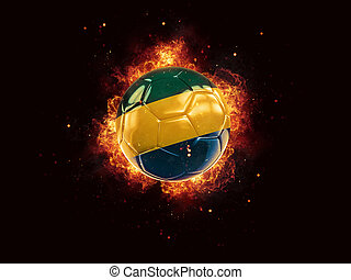 Football in flames with flag of gabon