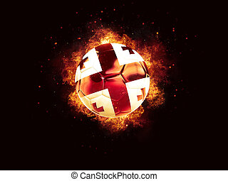 Football in flames with flag of georgia