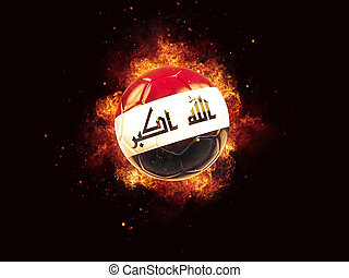 Football in flames with flag of iraq