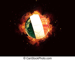 Football in flames with flag of italy