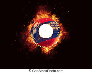 Football in flames with flag of laos