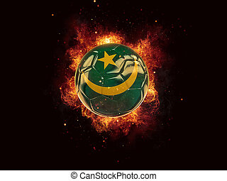 Football in flames with flag of mauritania