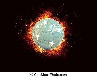 Football in flames with flag of micronesia