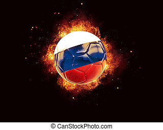Football in flames with flag of russia