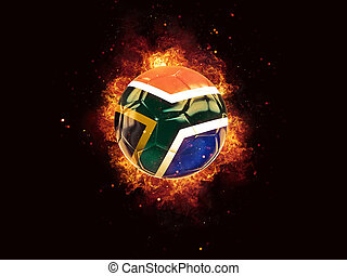 Football in flames with flag of south africa