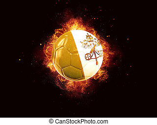 Football in flames with flag of vatican city