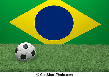 Football In Front Of Generic Flag