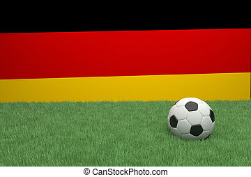 Football In Front Of German Flag