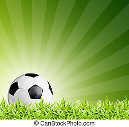Football in green grass, soccer ball on background green