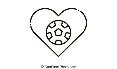 Football in Heart Icon Animation. black Football in Heart animated icon on white background