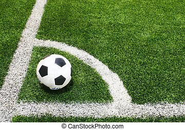 football in soccer field