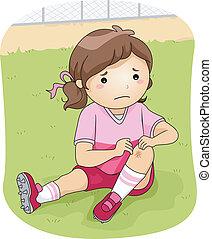 Football Injury - Illustration of a Little Football Player...