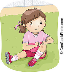 Football Injury - Illustration of a Little Football Player...