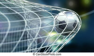 football is slowly flying in the goal against night sky background, 3d animation