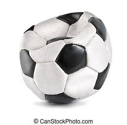 football, isolé, balle, dégonflé