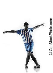 football, isolé, joueur, fond, action, professionnel, blanc, football