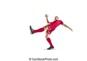 football, isolé, joueur, fond, professionnel, blanc, football