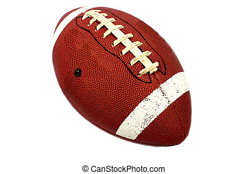 Football - Isolated brown football with white stripes for...