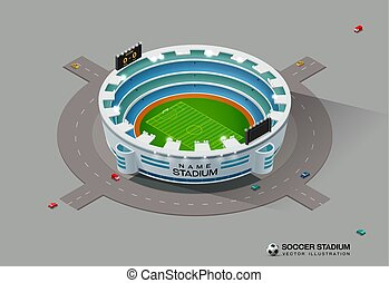 football, isométrique, football, stade