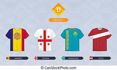 Football jersey with flag, teams of Leagua D, Group 1: Andorra, Georgia, Kazakhstan, Latvia.