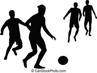 football, jeunes hommes, vecteur, silhouette, jouer