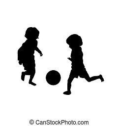 football, jouer, deux, gosses