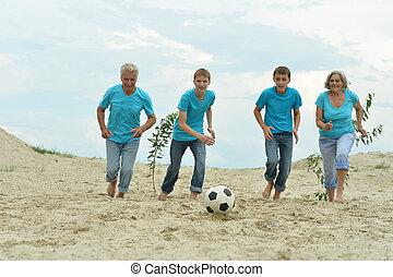 football, jouer, famille