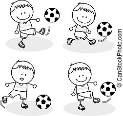 Football kids playing at park