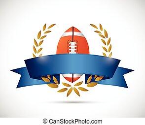 football laurel ribbon banner