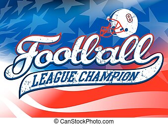 Football league champion on USA flag.