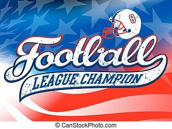 Football league champion on USA flag.