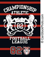 Football league jersey print with red stripes