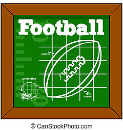 Football lesson - Cartoon illustration showing a blackboard...