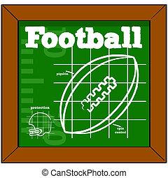 Football lesson - Cartoon illustration showing a blackboard...