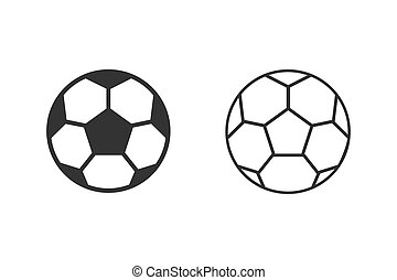 Football line icon set isolated on white. Vector