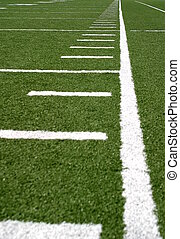 Football Lines - Green football field with large yard...