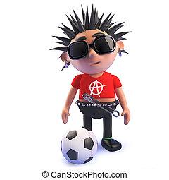 Football loving punk rock character, 3d illustration