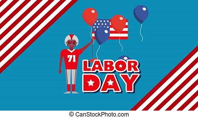 football, main-d'œuvre, joueur, américain, animation, jour