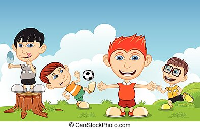 football, manger, enfants, glace, jouer
