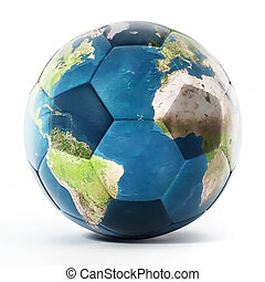 Football mapped with Earth texture. 3D illustration