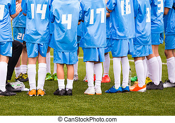 Football match for children. shout team, football soccer game