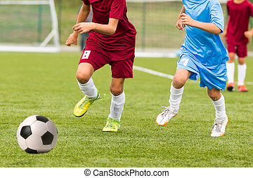 Football match for children. Training and football soccer game tournament