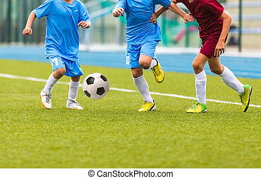 Football match for children. Training and football soccer tournament