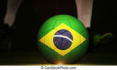 Football montage advertisement for brazil with player and...