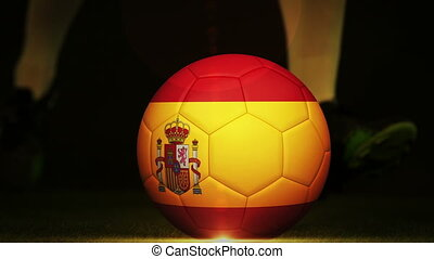 Football montage advertisement for spain with player and...