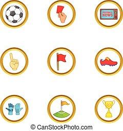Football news icons set, cartoon style